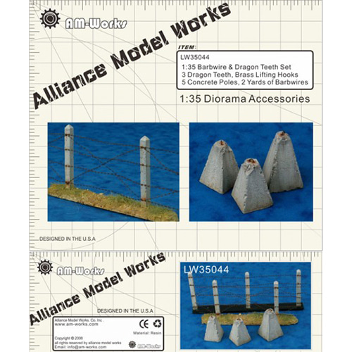 [LW35044] 1:35 dragon teeth, concrete poles and barbwire (Brass and Resin)
