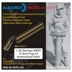 [LW35071] 1:48 German WWII 12.8cm Pzgr 43 Ammunition Pack (5pcs)